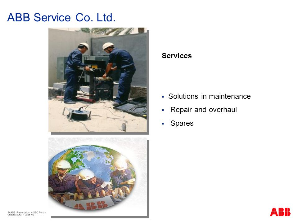 ABB Service Co. Ltd. Services Solutions in maintenance