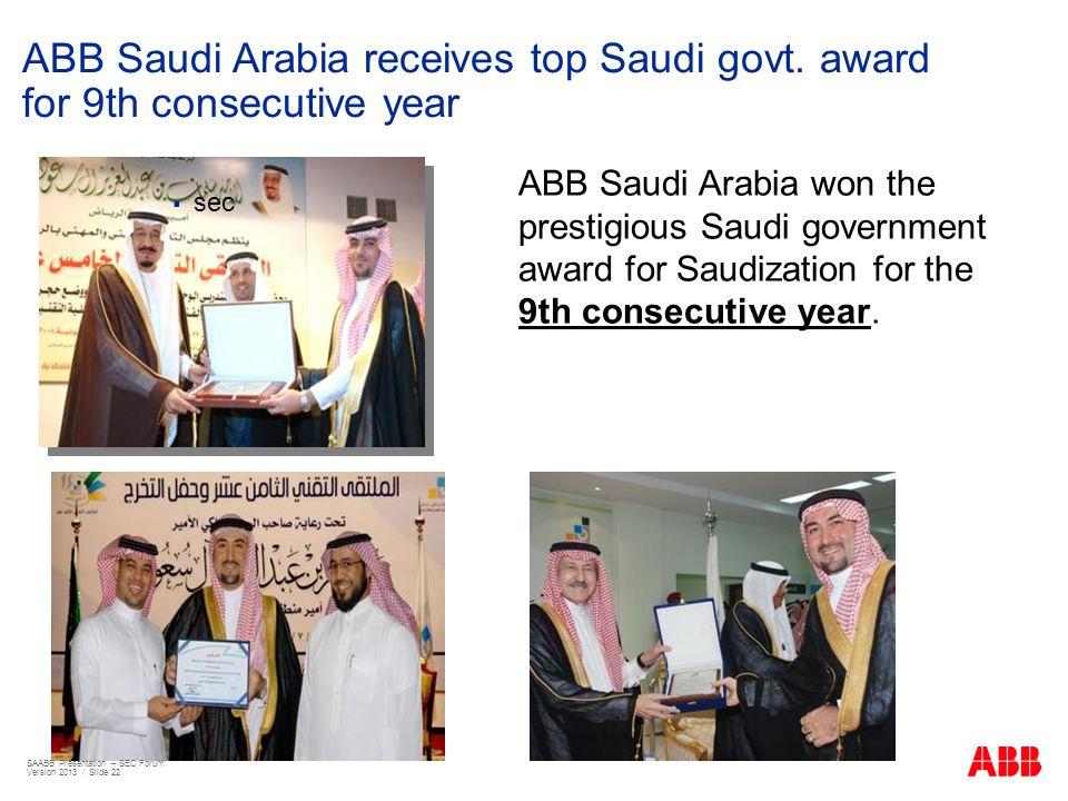 ABB Saudi Arabia receives top Saudi govt