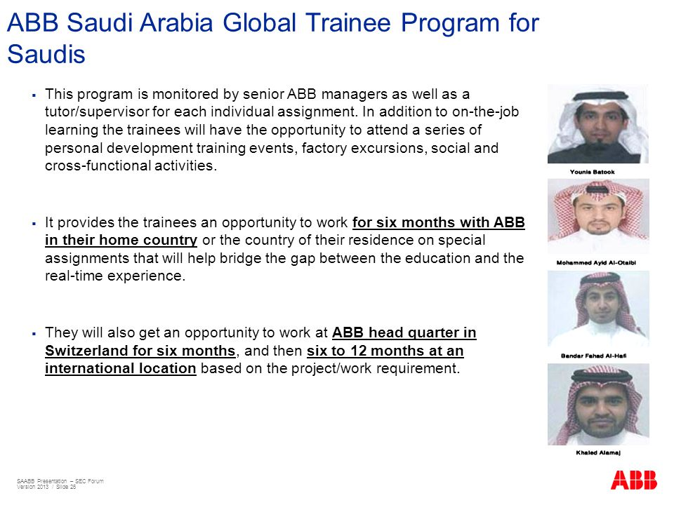 ABB Saudi Arabia Global Trainee Program for Saudis