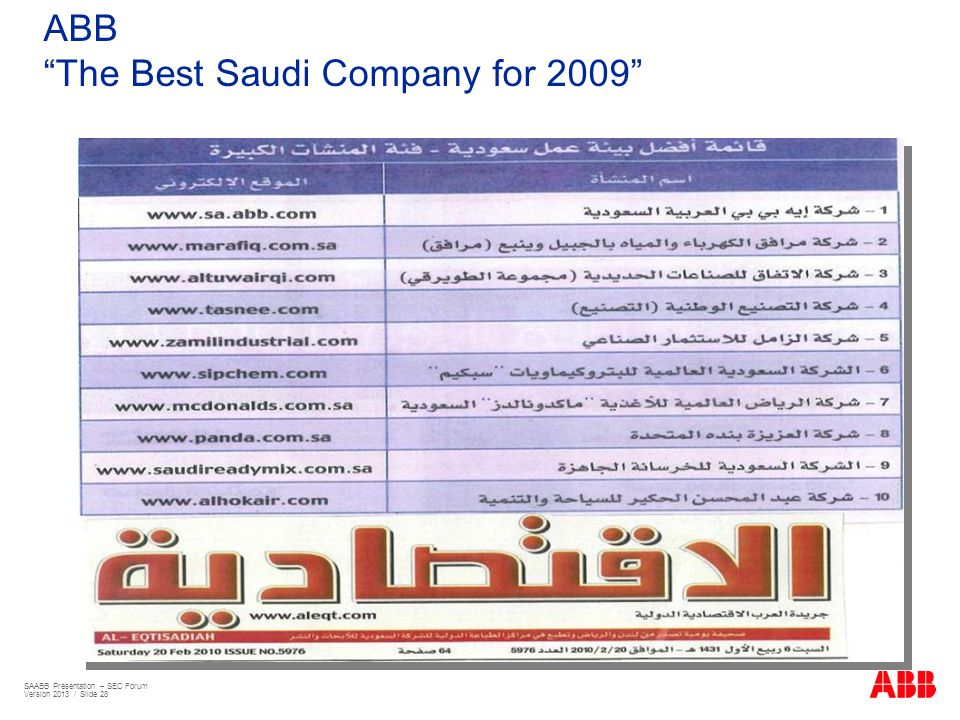 The Best Saudi Company for 2009