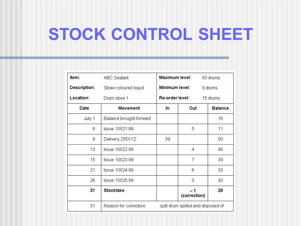 STOCK CONTROL SHEET