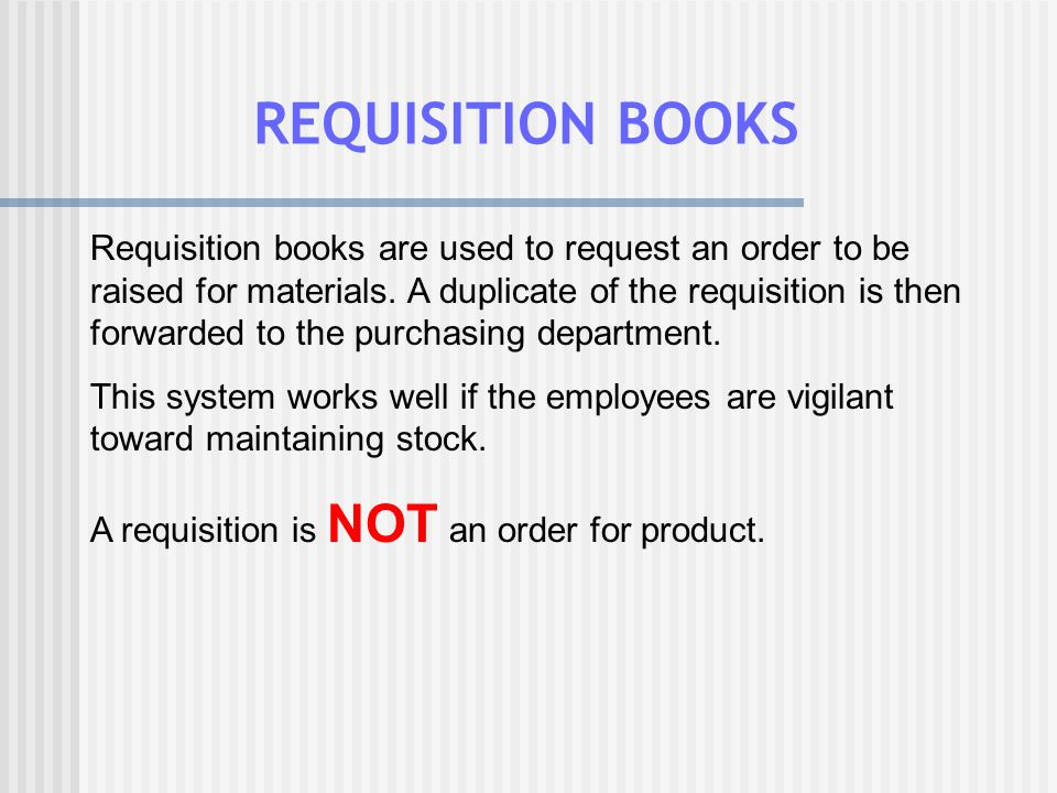 REQUISITION BOOKS