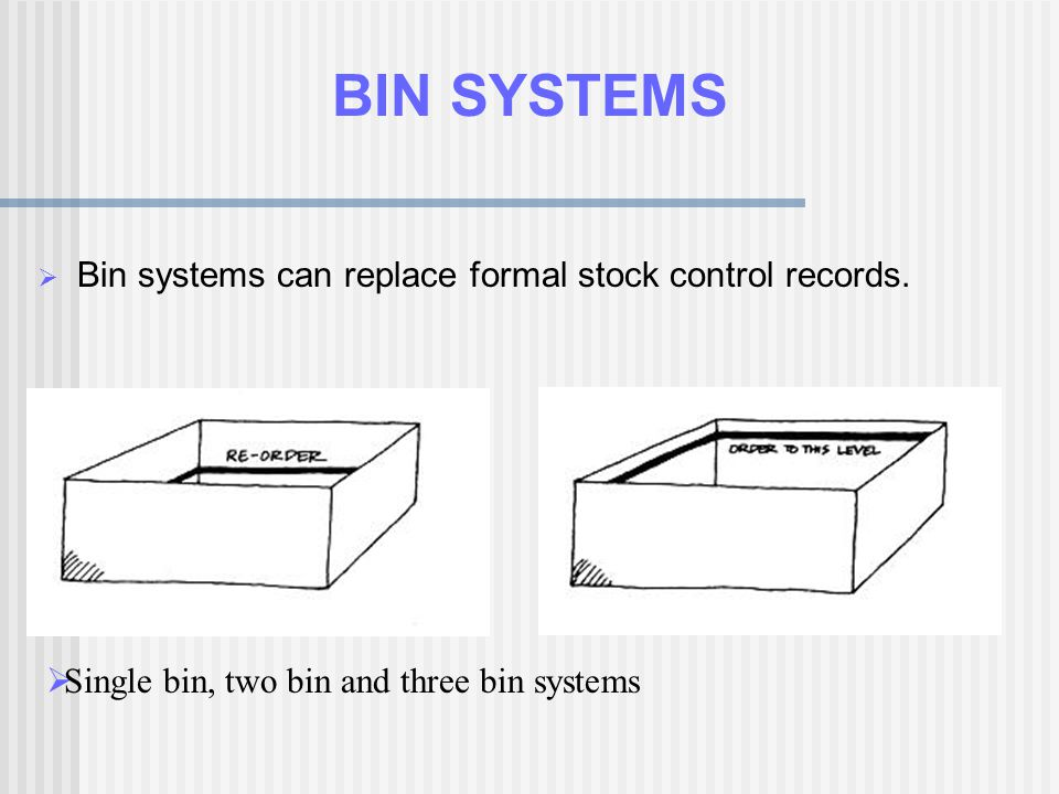 BIN SYSTEMS Bin systems can replace formal stock control records.