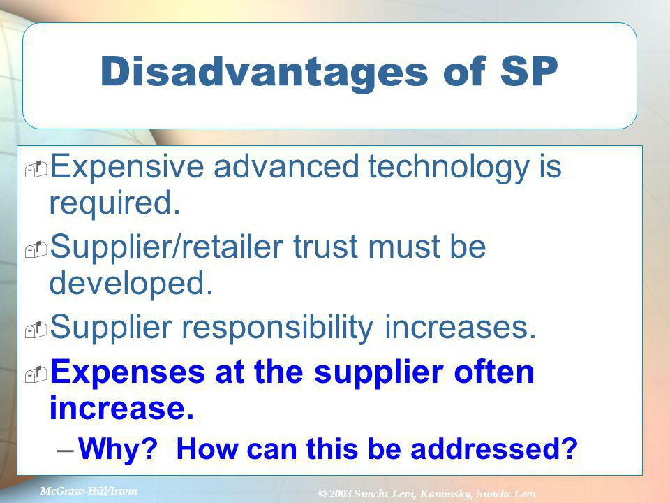 Disadvantages of SP Expensive advanced technology is required.