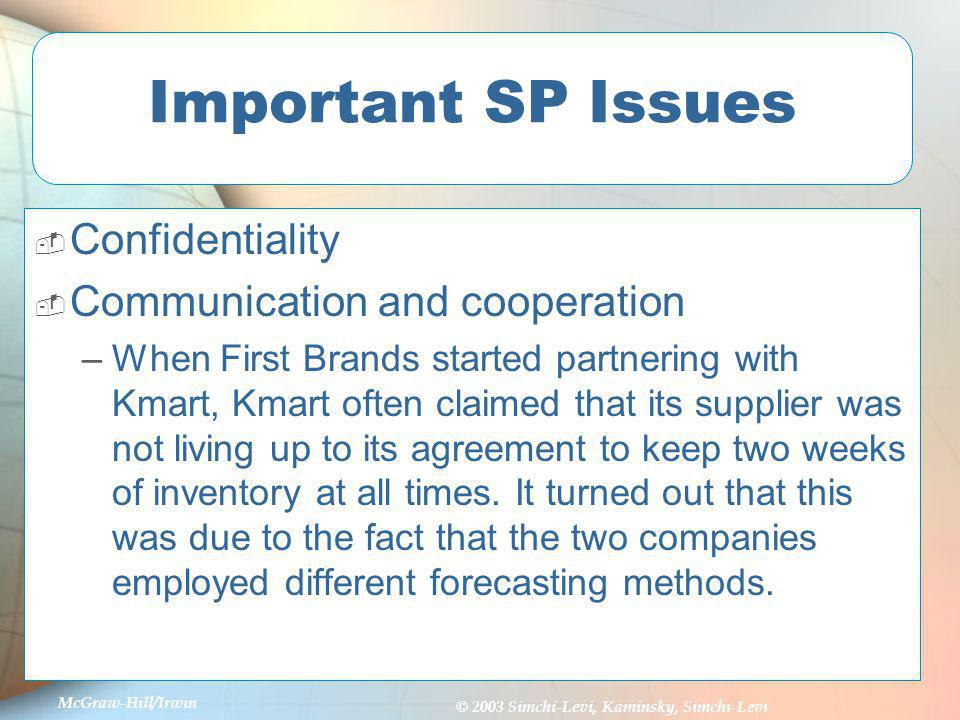 Important SP Issues Confidentiality Communication and cooperation