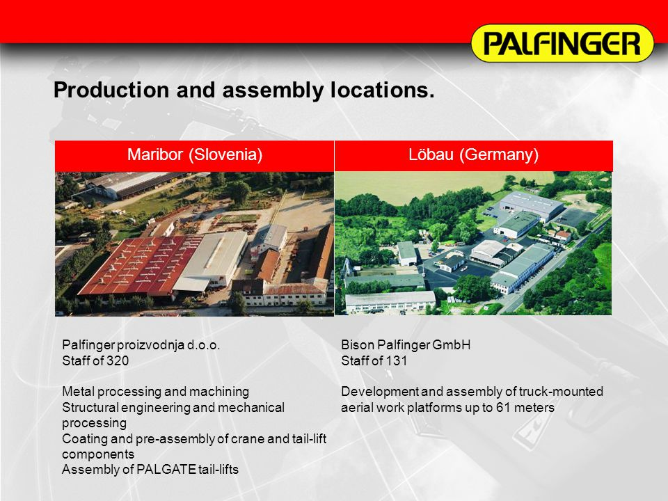 Production and assembly locations.