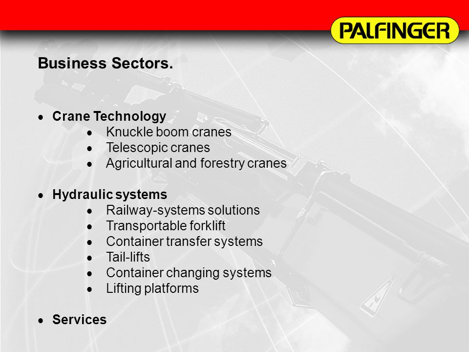 Business Sectors. Crane Technology Knuckle boom cranes