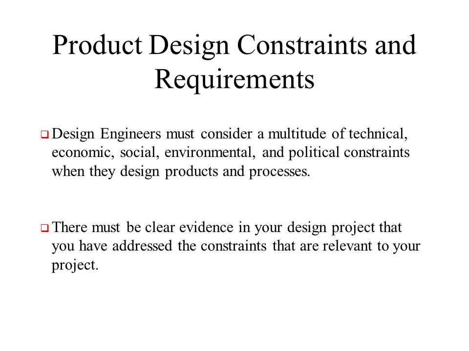 Product Design Constraints and Requirements