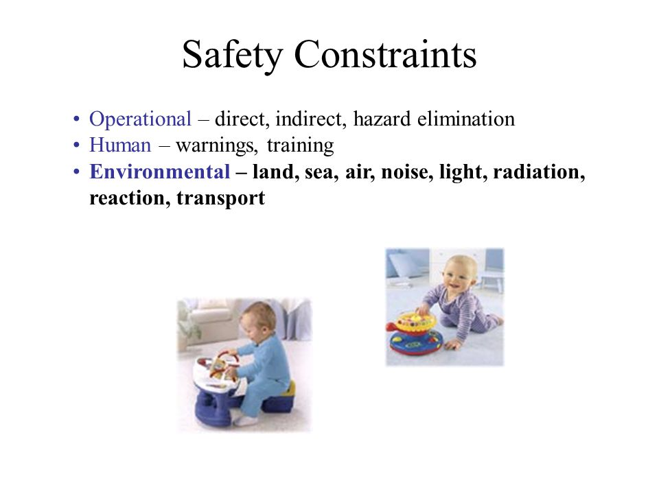 Safety Constraints Operational – direct, indirect, hazard elimination