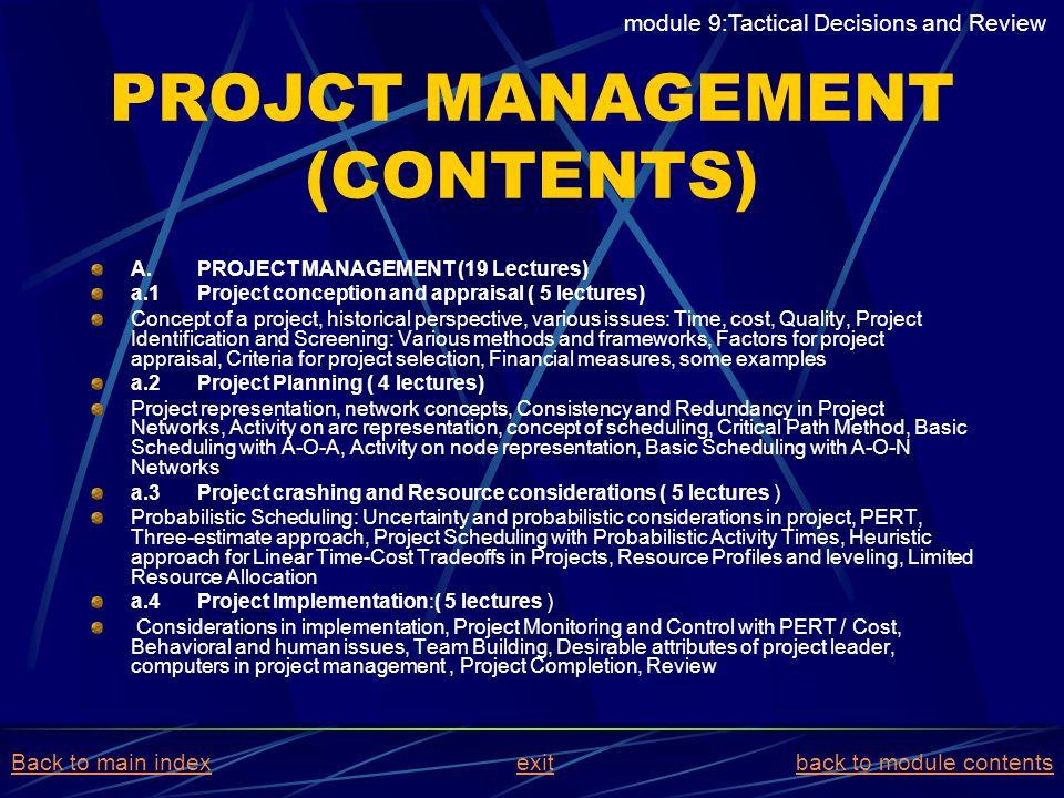 PROJCT MANAGEMENT (CONTENTS)