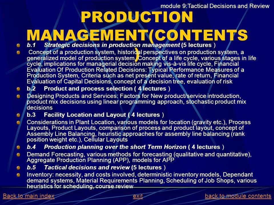 PRODUCTION MANAGEMENT(CONTENTS)