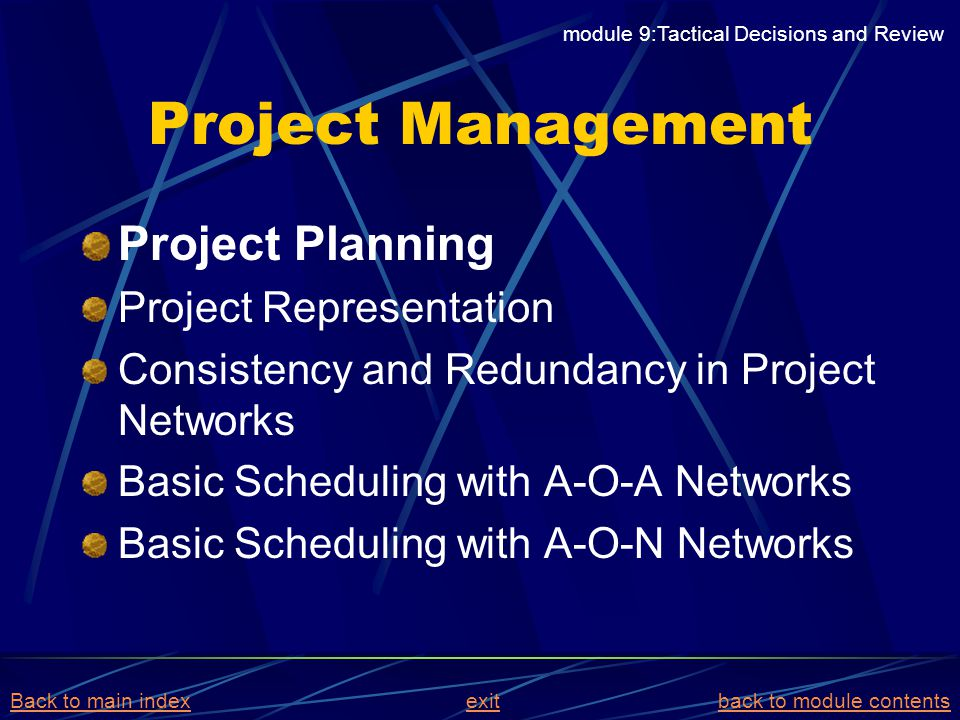 Project Management Project Planning Project Representation