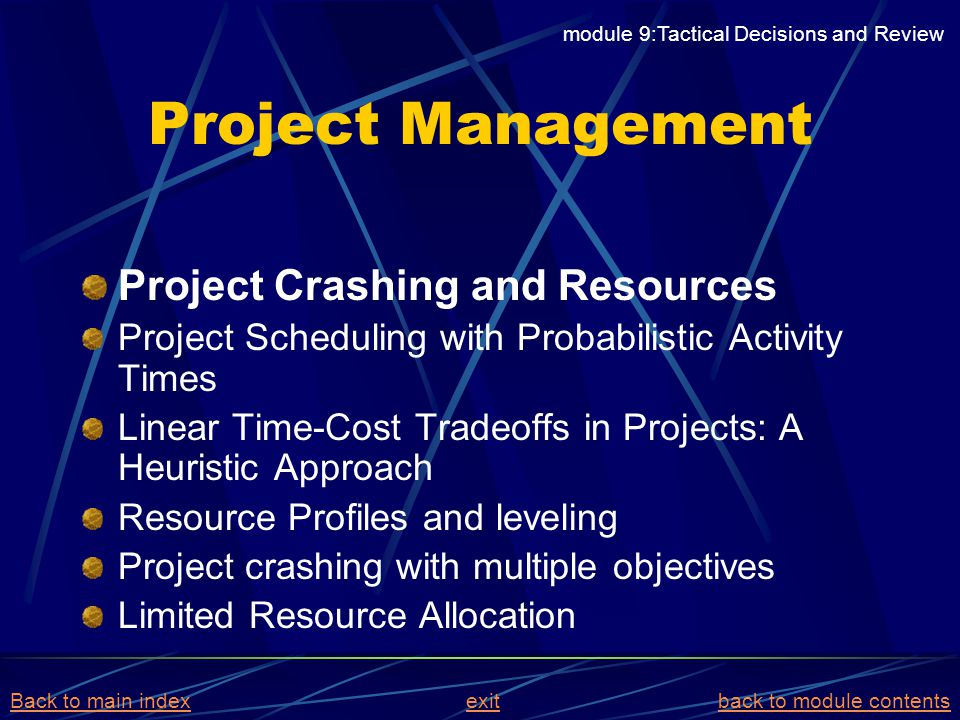 Project Management Project Crashing and Resources