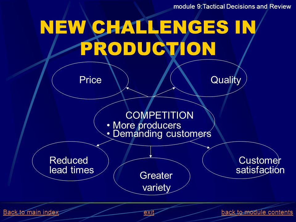 NEW CHALLENGES IN PRODUCTION