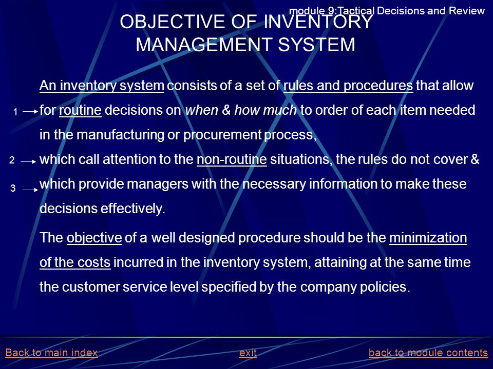 OBJECTIVE OF INVENTORY MANAGEMENT SYSTEM