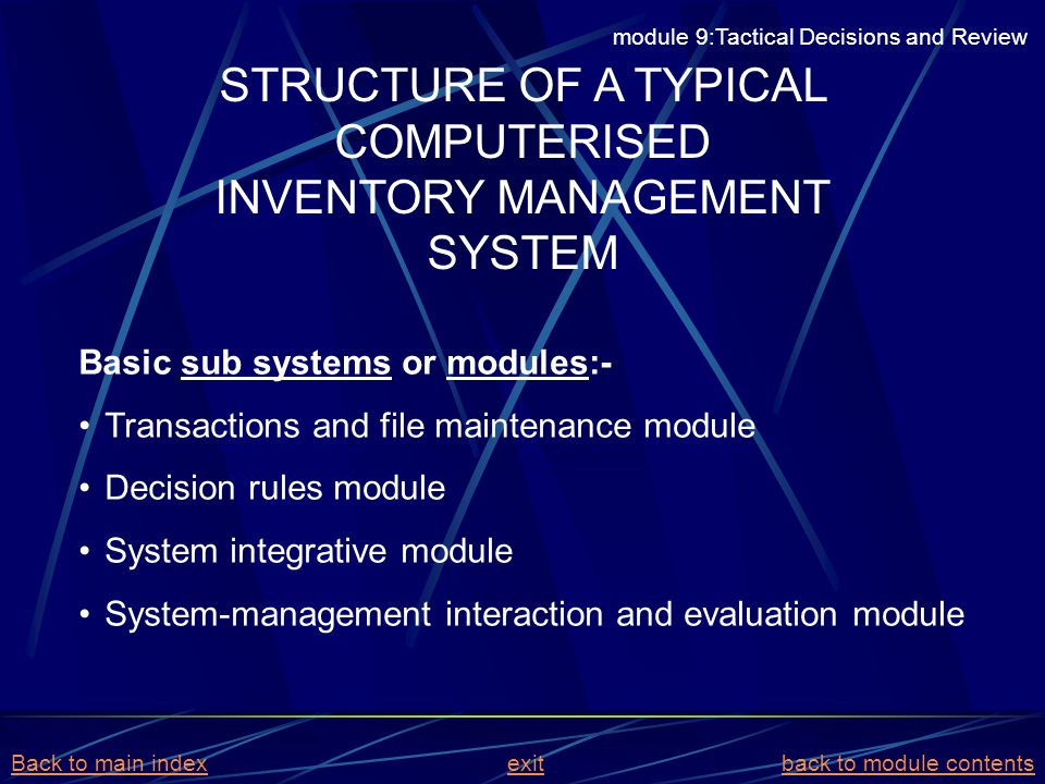 STRUCTURE OF A TYPICAL COMPUTERISED INVENTORY MANAGEMENT SYSTEM