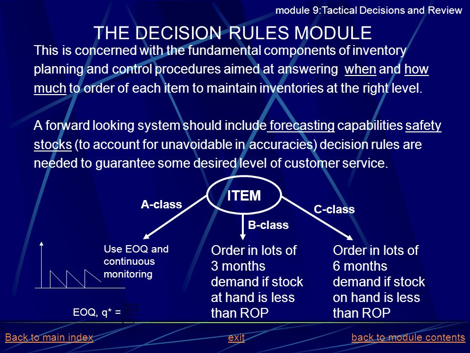 THE DECISION RULES MODULE