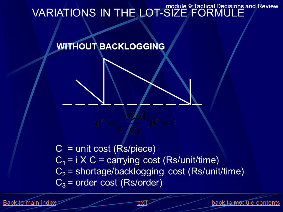 VARIATIONS IN THE LOT-SIZE FORMULE