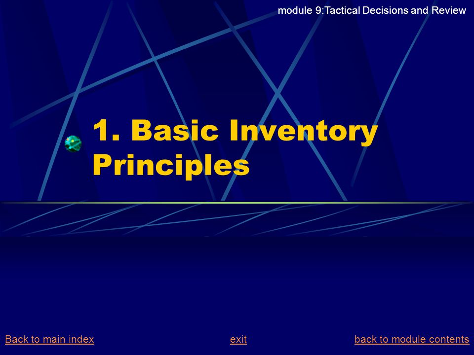 1. Basic Inventory Principles