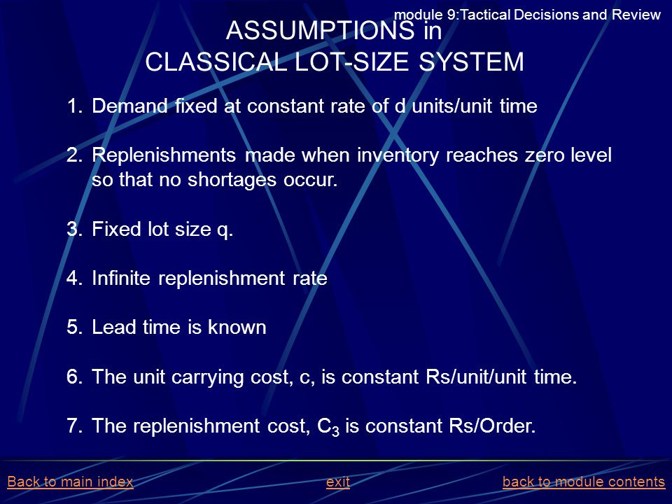 CLASSICAL LOT-SIZE SYSTEM