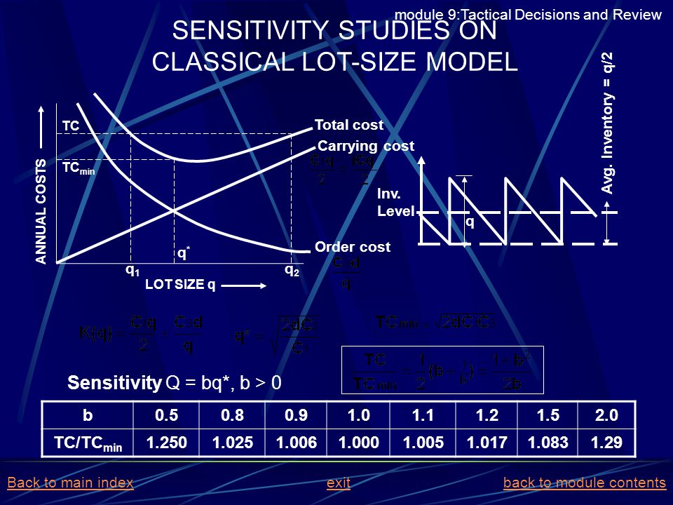 SENSITIVITY STUDIES ON CLASSICAL LOT-SIZE MODEL