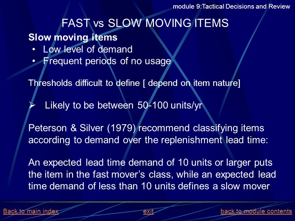 FAST vs SLOW MOVING ITEMS