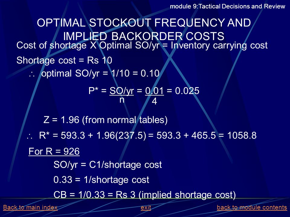 OPTIMAL STOCKOUT FREQUENCY AND IMPLIED BACKORDER COSTS