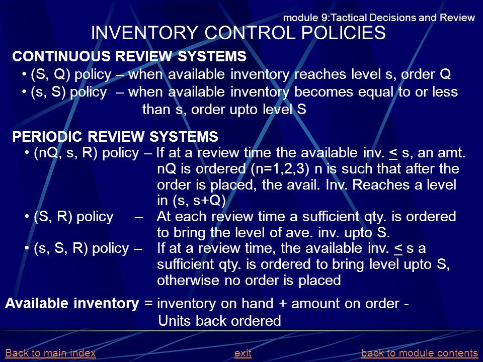 INVENTORY CONTROL POLICIES