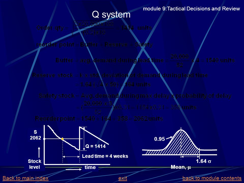 Q system module 9:Tactical Decisions and Review