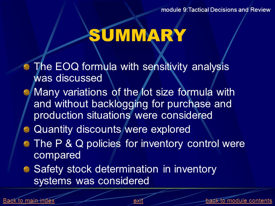 SUMMARY The EOQ formula with sensitivity analysis was discussed