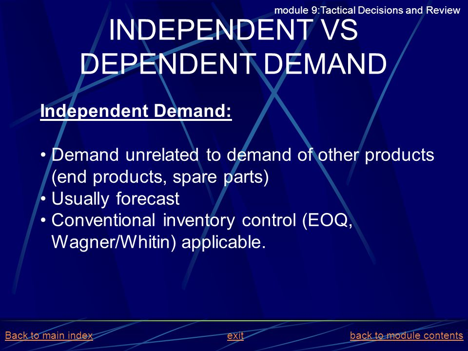 INDEPENDENT VS DEPENDENT DEMAND