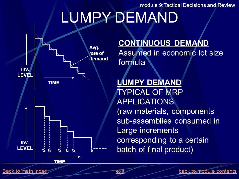 LUMPY DEMAND CONTINUOUS DEMAND Assumed in economic lot size formula