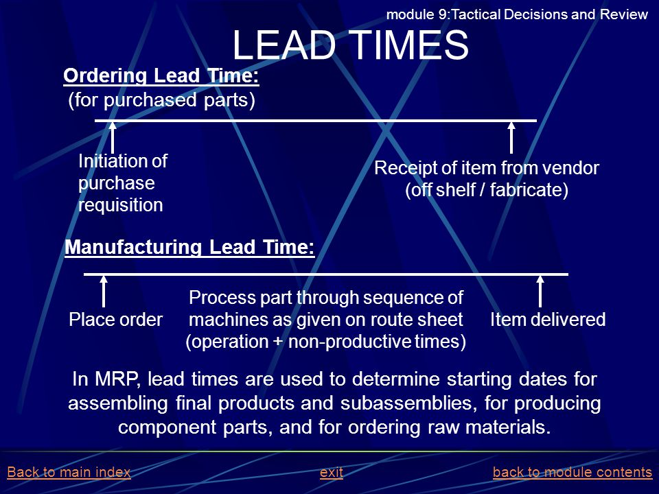 LEAD TIMES Ordering Lead Time: (for purchased parts)