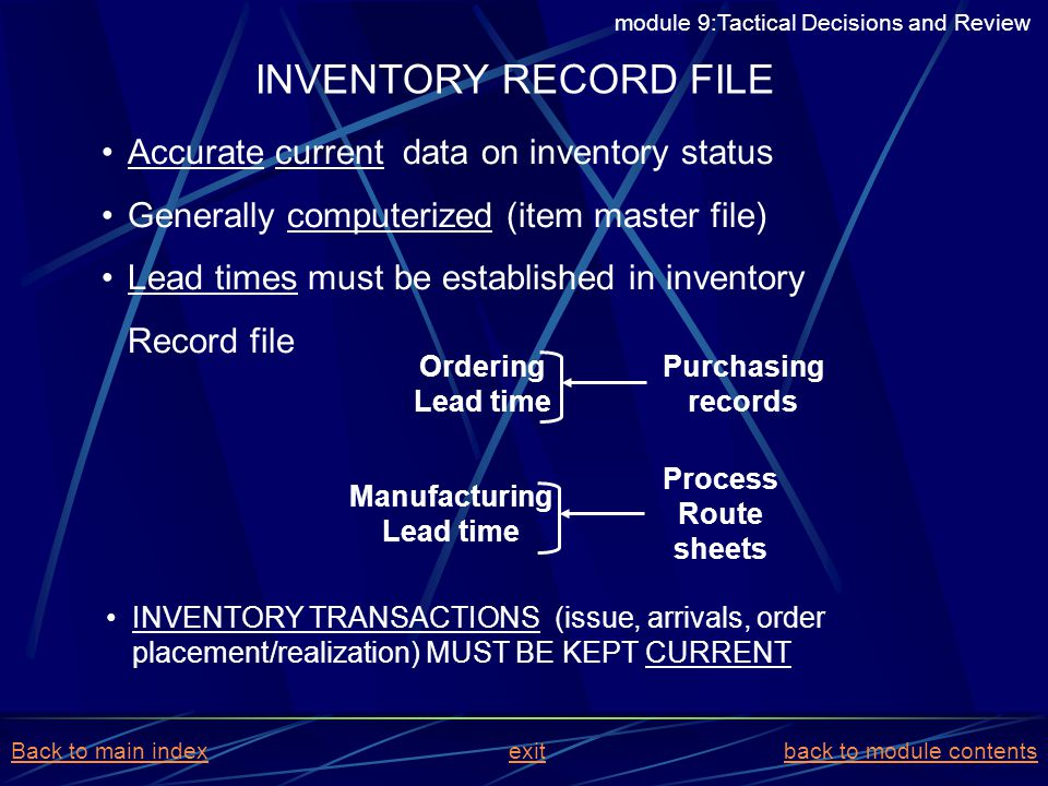 INVENTORY RECORD FILE Accurate current data on inventory status
