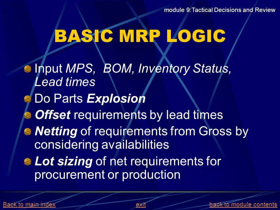 BASIC MRP LOGIC Input MPS, BOM, Inventory Status, Lead times