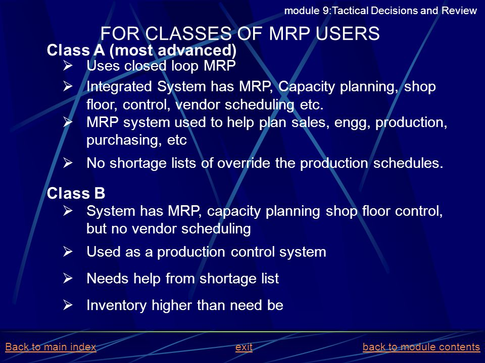 FOR CLASSES OF MRP USERS