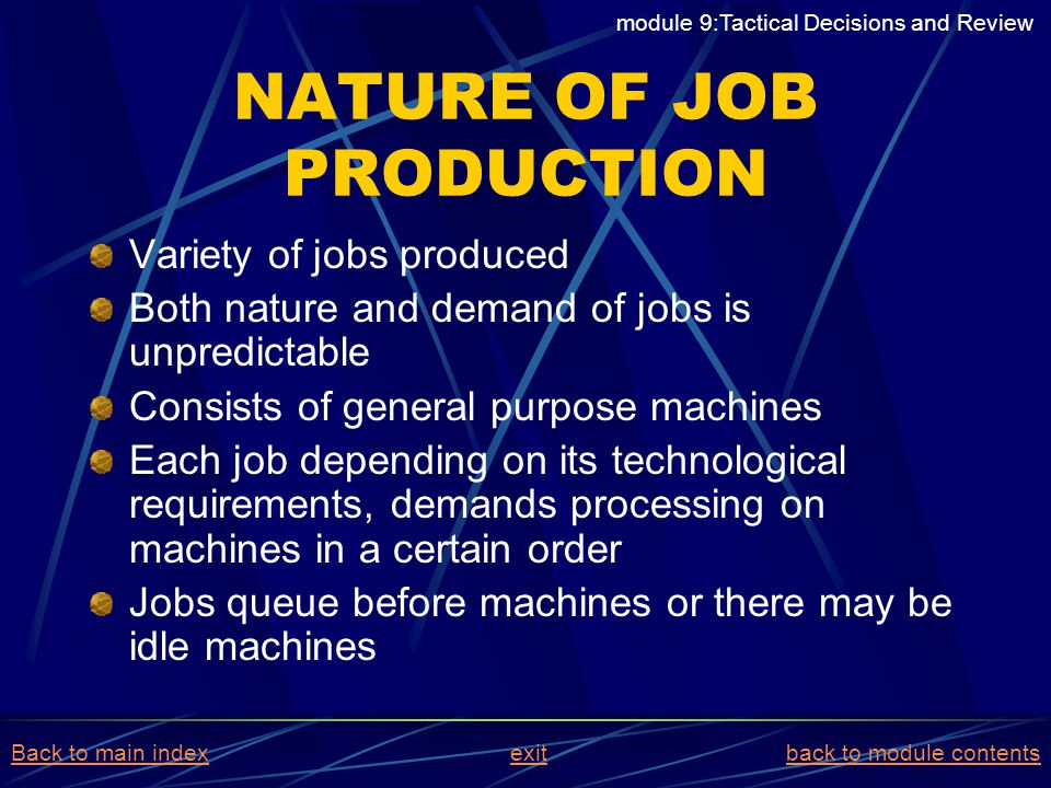 NATURE OF JOB PRODUCTION