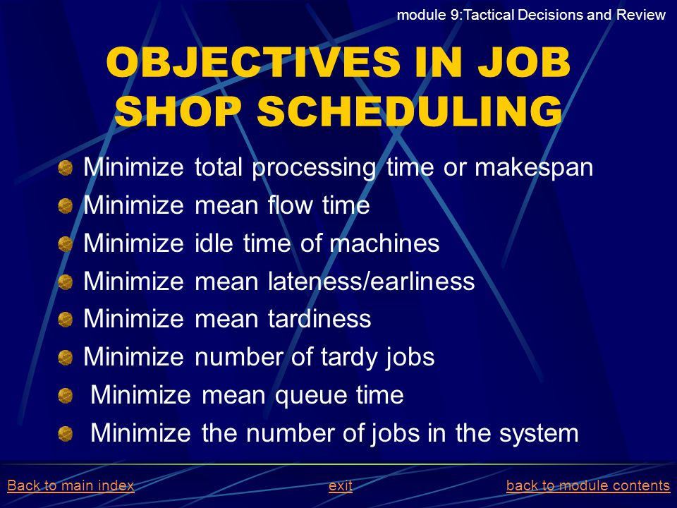 OBJECTIVES IN JOB SHOP SCHEDULING