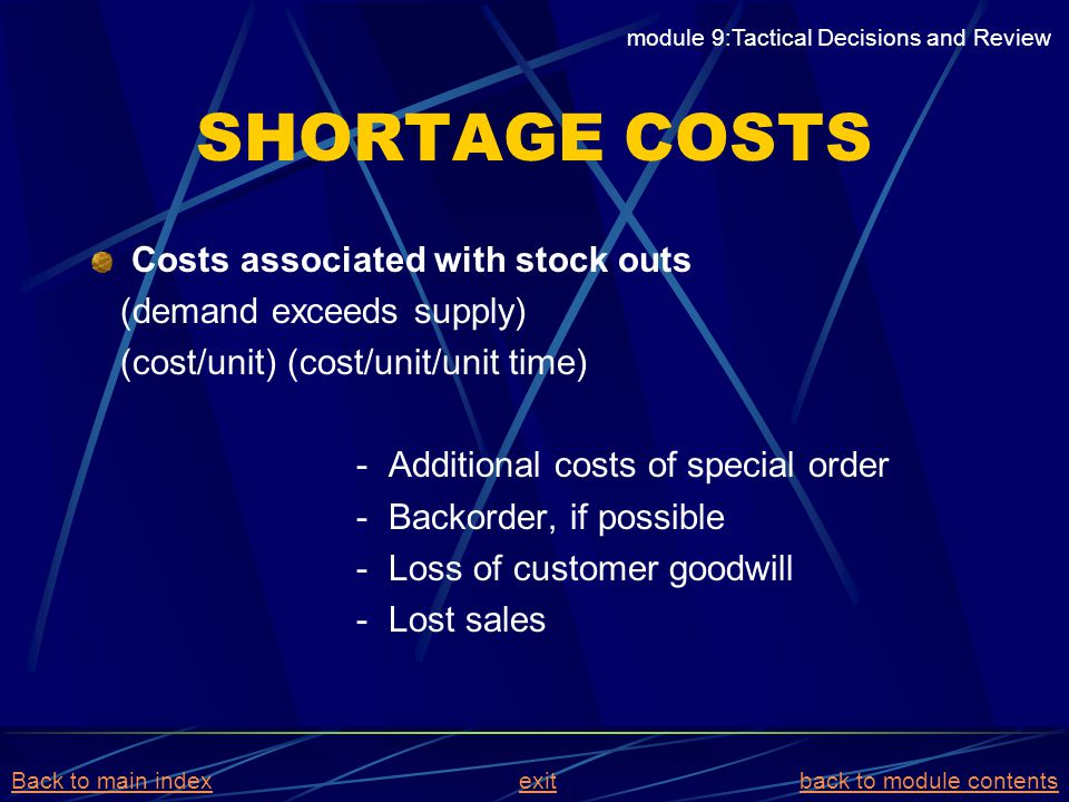SHORTAGE COSTS Costs associated with stock outs