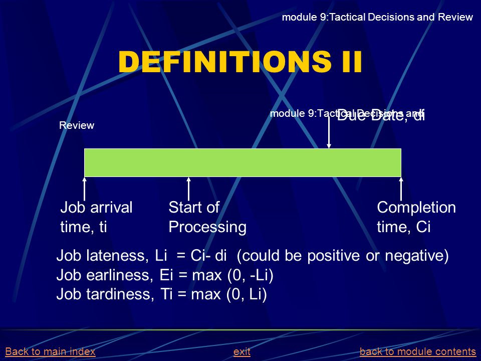 DEFINITIONS II Due Date, di Job arrival time, ti Start of Processing