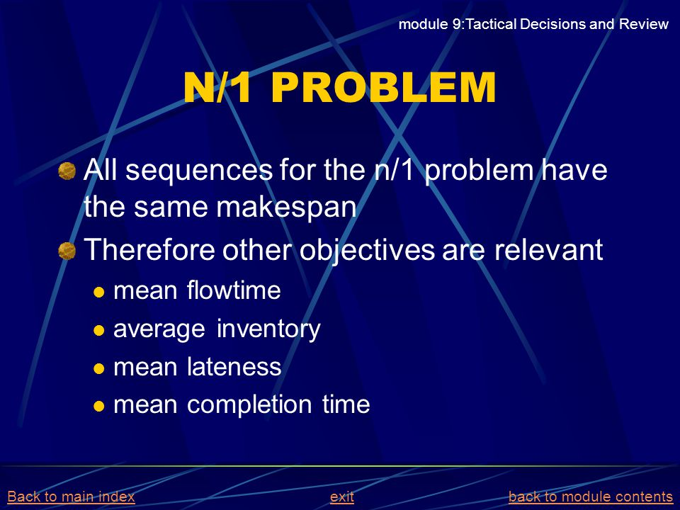 N/1 PROBLEM All sequences for the n/1 problem have the same makespan