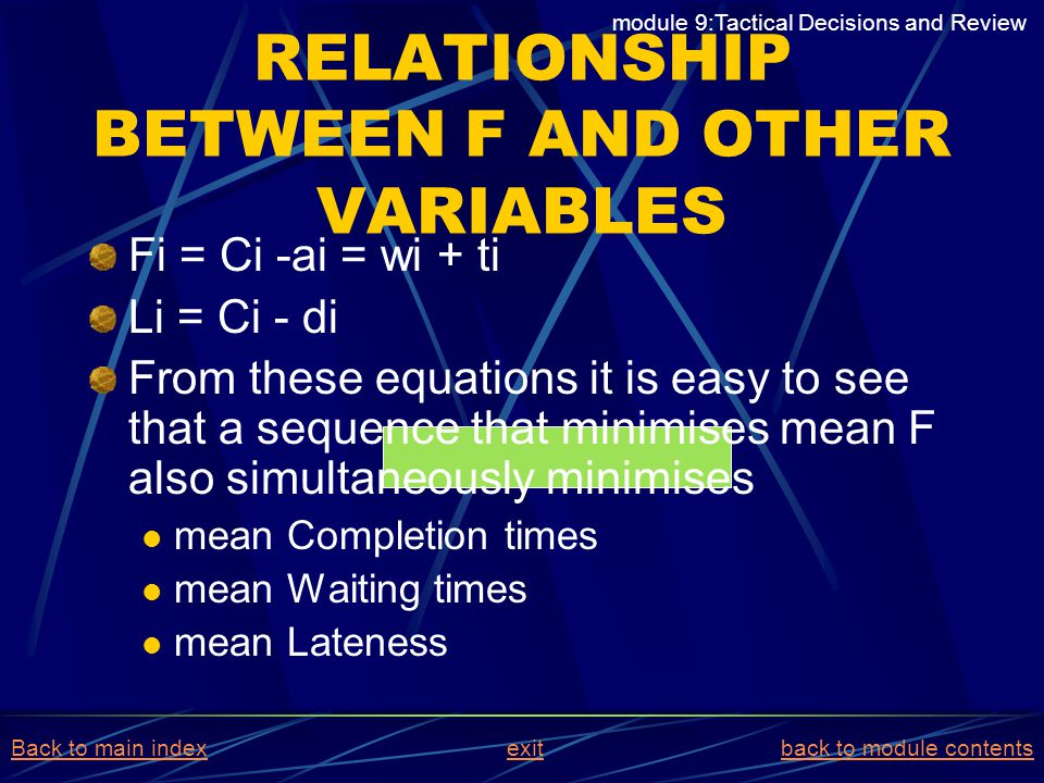 RELATIONSHIP BETWEEN F AND OTHER VARIABLES