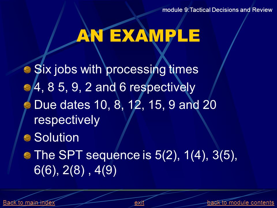 AN EXAMPLE Six jobs with processing times