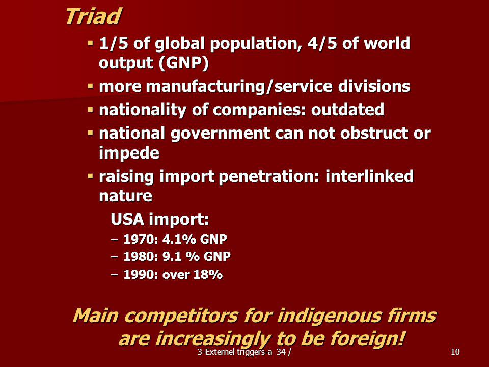 Main competitors for indigenous firms are increasingly to be foreign!