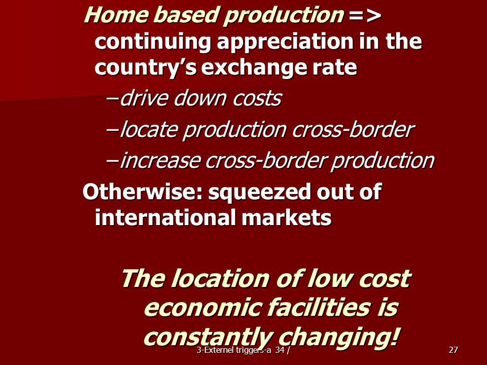 The location of low cost economic facilities is constantly changing!
