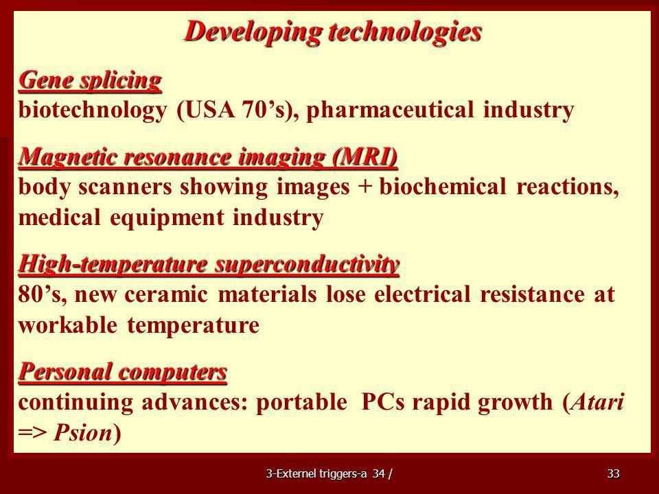 Developing technologies