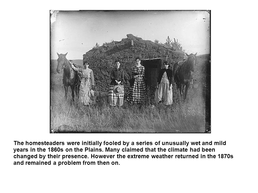 The homesteaders were initially fooled by a series of unusually wet and mild years in the 1860s on the Plains.