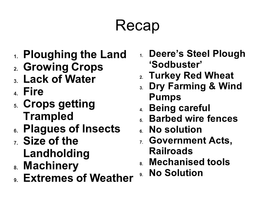 Recap Ploughing the Land Growing Crops Lack of Water Fire