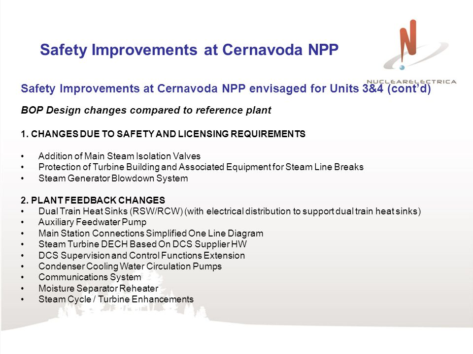 Safety Improvements at Cernavoda NPP