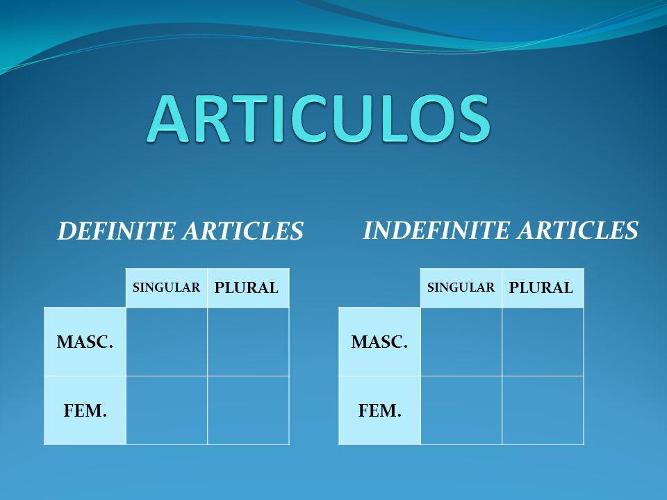 ARTICULOS DEFINITE ARTICLES INDEFINITE ARTICLES MASC. FEM. MASC. FEM.